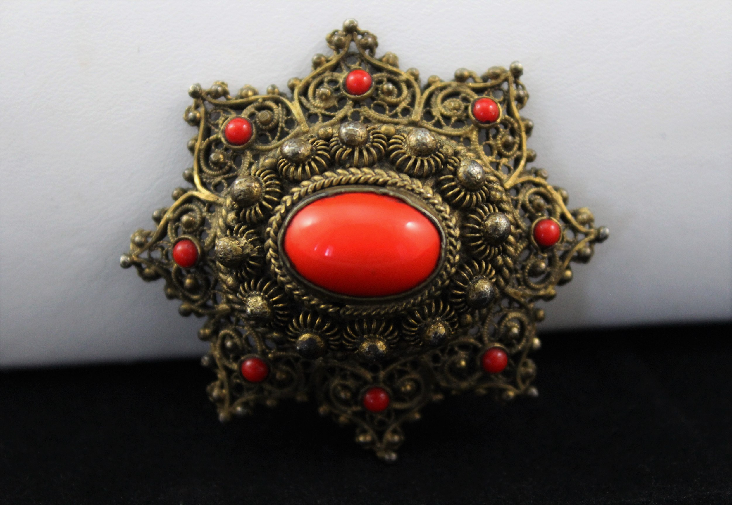 Sterling Silver Victorian Crystal Stone Brooch