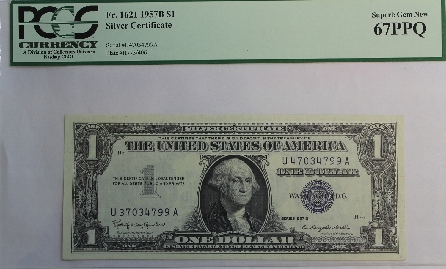 1957 B $1 Silver Certificate Mismatched Serial Numbers PCGS 67 ...