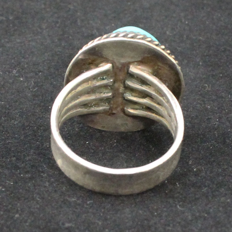 Vintage Hopi Dawn Lucas DL Large Mens Sterling Silver Ring and Large Round  Kingman Turquoise Nugget Ring - Size 11
