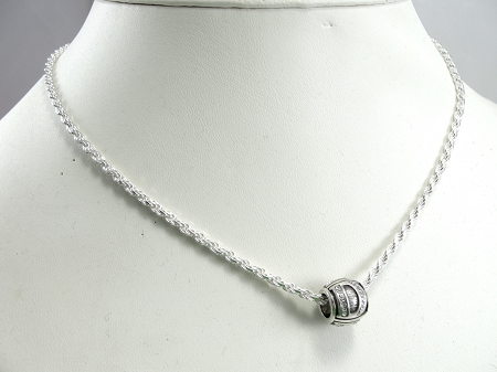 Sterling Silver Round Initial Charm Letter G Hand Stamped With 20 Silver Bead Chain