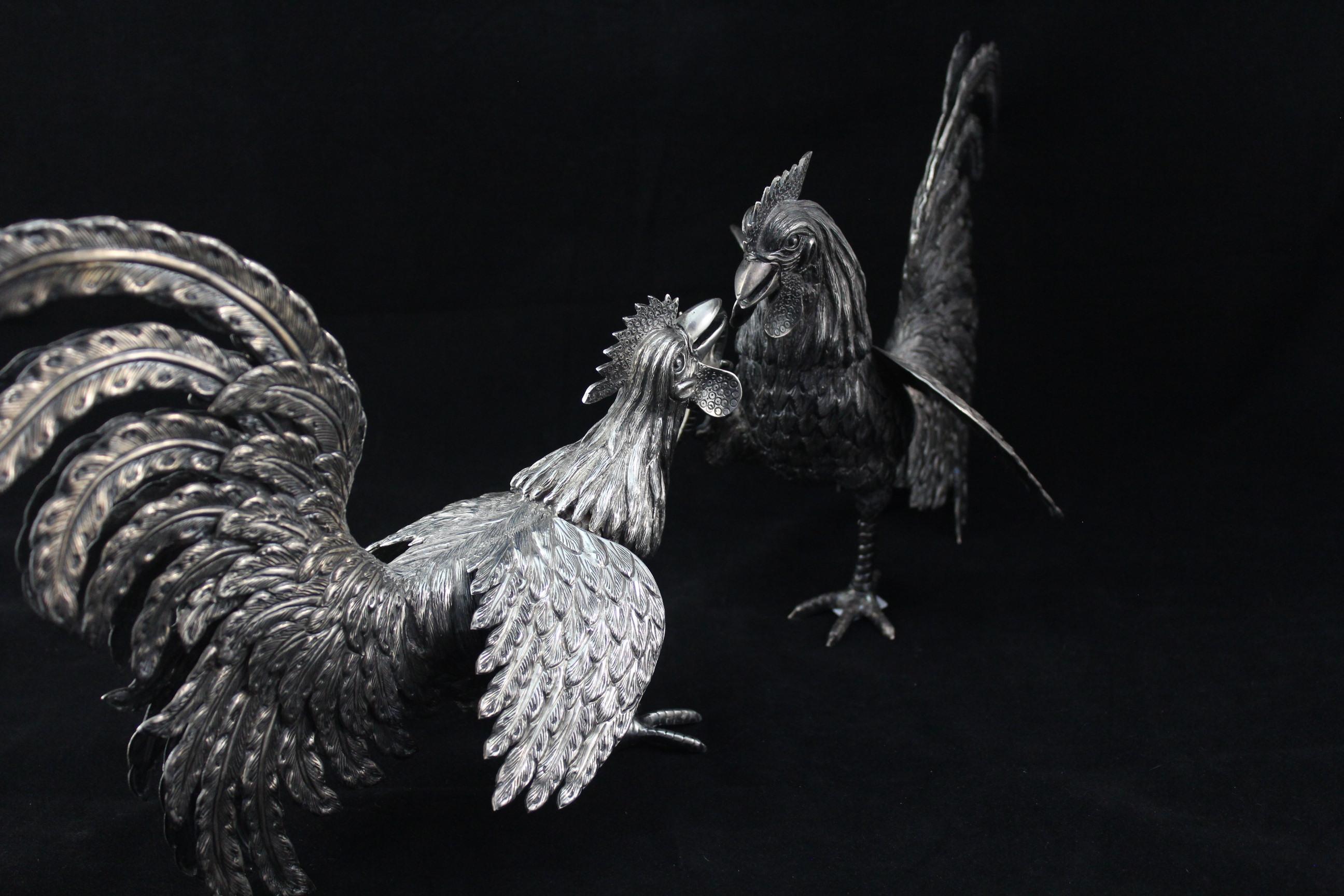 FightingRoosterSterlingSilverSculpture-1-4