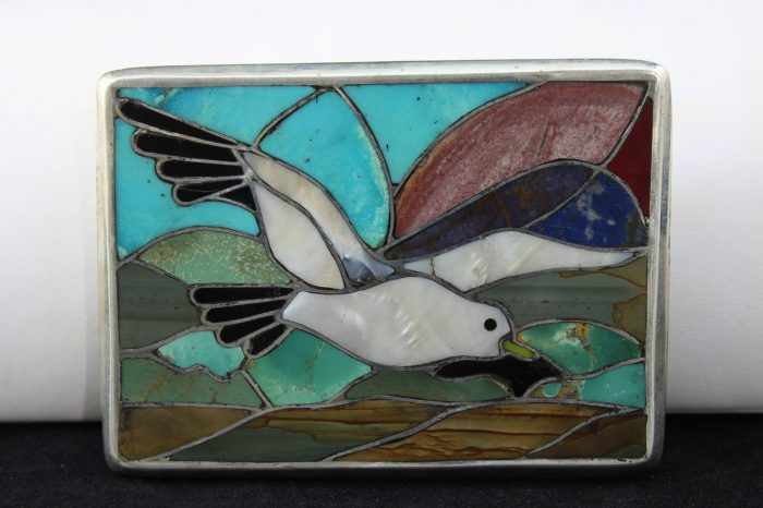 """Mother Of pearl Inlay Artisan Hand Made 3"""" Belt Buckle"""