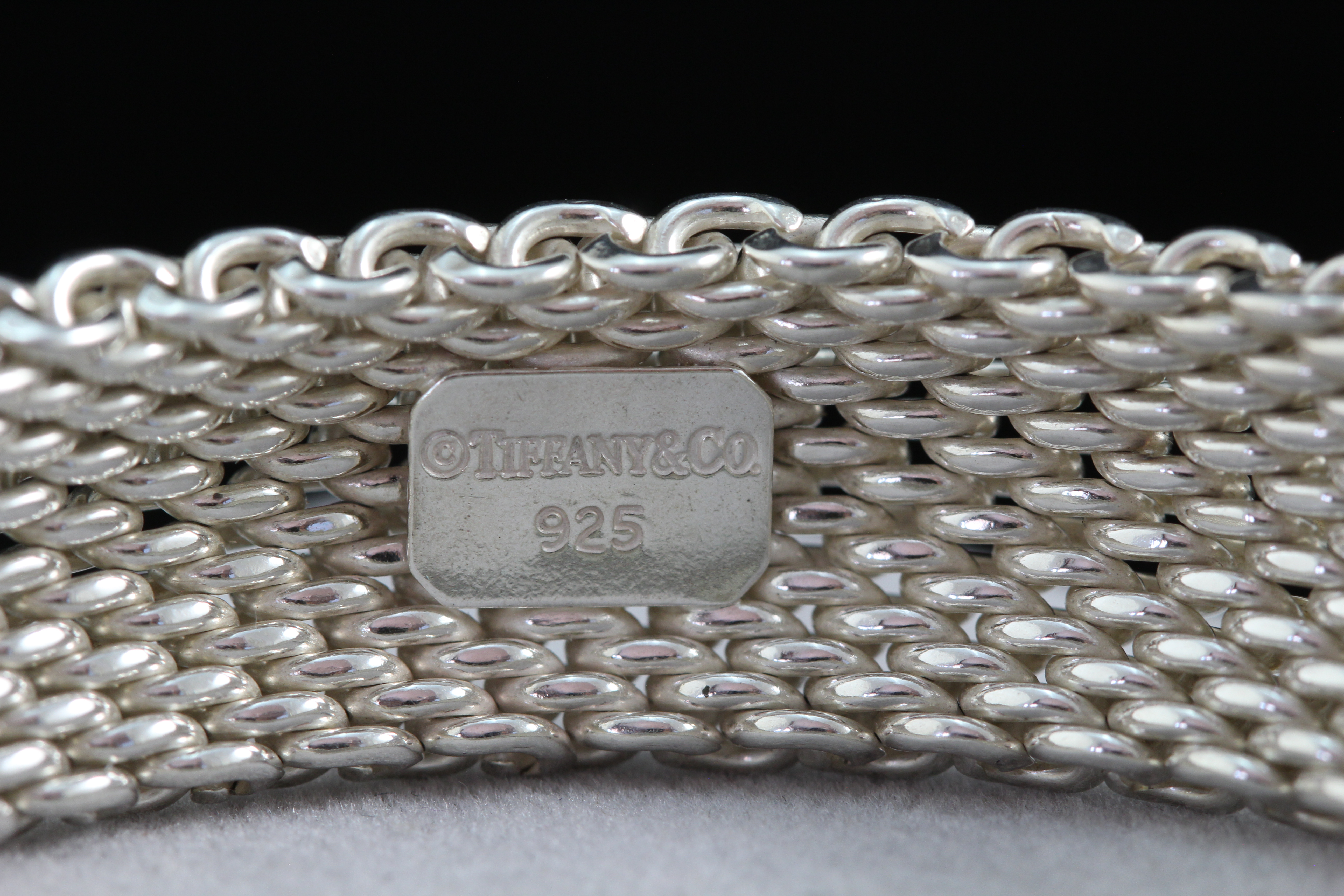 03bc52705 Authentic Tiffany & Coå© Sterling Silver SOMERSET Large Mesh Bangle ...