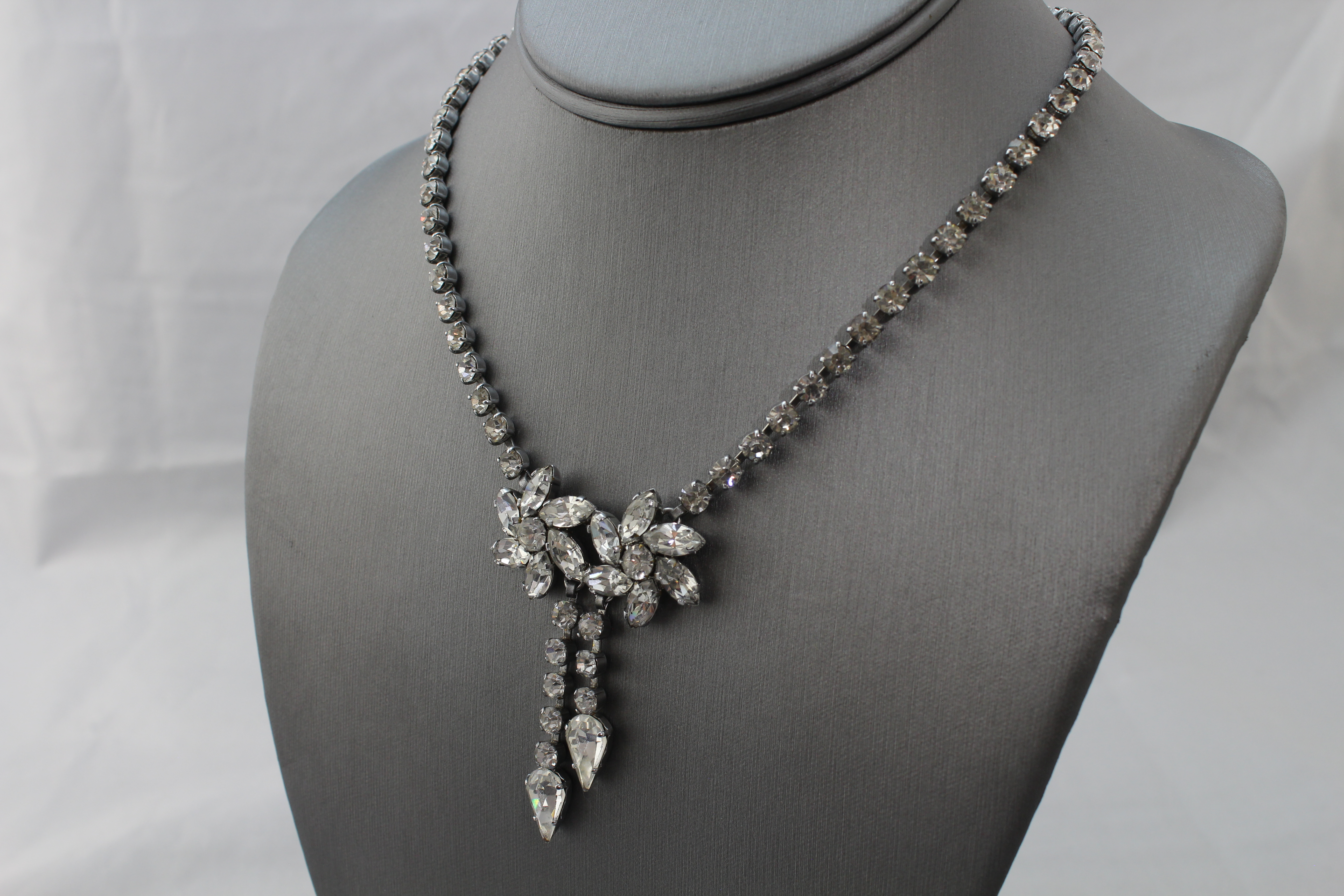 Black double chain with large dangle rhinestones Necklace