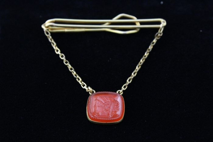 Vintage Designer Signed Rolled Gold Plated Cherry Red Amber Bakelite Cameo  Tie Bar / Tie Clasp